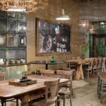 restaurante piso de cimento queimado